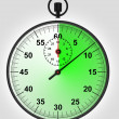 vista frontal en verde corre stopwatch — Stockfoto