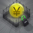Yen coin in padlock closed fence concept - Stock Photo