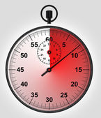 Stopwatch front view with time in red — Stock Photo