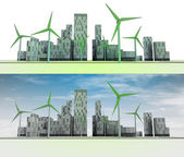 Two city views with buildings and wind turbines — Stock Photo