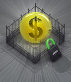 Dollar coin in padlock locked fence concept — Stock Photo