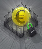 Euro coin in padlock locked fence concept — Stock Photo