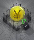 Yen coin in padlock closed fence concept — Stock Photo