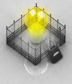 Lâmpada amarela com cadeado fechado conceito de vedação — Fotografia Stock
