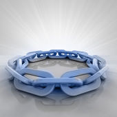 Blue iron chain circle with flare in perspective view — Stockfoto