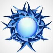 Blue thorny shape with editable space vector — Stock Vector
