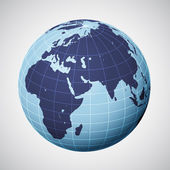 Vector world globe in blue focused on europe — Stock Vector
