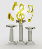 Music concept with treble clef on column — Stock Photo