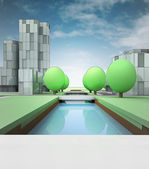 River canal in town with office buildings — Stock Photo