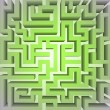 Finding green positive way in maze concept vector — Stock Photo