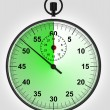 Green running stopwatch with time reserve — 图库照片