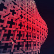 Постер, плакат: Red construction with bulge in darkness wallpaper