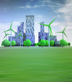 Cityscape with wind turbines in sky — Stock Photo