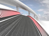 Two bended race tracks on sky background — Stock Photo