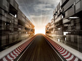 Racetrack in evening light bussiness city — Stock Photo