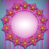 Pink blue shaded blossom circle card motive — Stock Photo