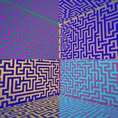 Cold colored shaded three dimensional maze box — Stock Photo