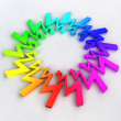 Rainbow arrows zigzag circle composition — Stock Photo