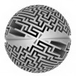 Stock Photo: Isolated grey labyrinth sphere symmetry