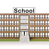 Isolated town school building with brick facade — Stock Photo