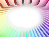 Colorful rainbow stripes around white oval — Stock Photo
