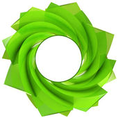 Green central swirl isolated with blank circle — Stock Photo