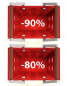 Top view on red shopping basket with discount — Stock Photo