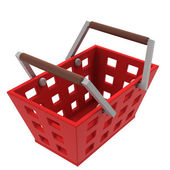 Isolated red shopping basket upper view — Stock Photo