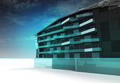 Conception de l'architecture moderne verre et d'acier — Photo