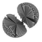 Isolated two broken labyrinth sphere — Stock Photo