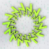 Green arrow zigzag centered composition with binary code — Stock Photo