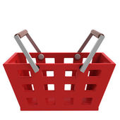 Red shopping basket side view isolated — Stock Photo