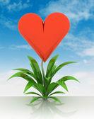 ανθίζοντας καρδιά της αγάπη λουλούδι με ουρανό — Φωτογραφία Αρχείου
