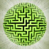 Green maze sphere planet with binary code background — Stock Photo