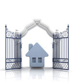 Open baroque gate with blue house — Stock Photo