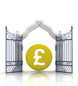 Open baroque gate with pound coin — Stock Photo