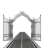 Open baroque gate with highway — Stock Photo