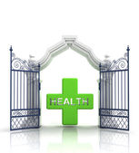 Open baroque gate with health cross illustration — Stock Photo