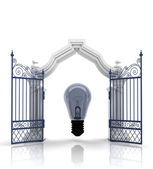 Open baroque gate with bulb — Stock Photo