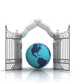 Open baroque gate with asia on globe — Stock Photo