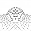 Stock Vector: Half sphere in grid line perspective drawing vector