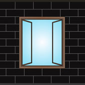 öppnade fönster i svart tegel fasad vector — Stockvektor