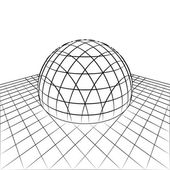 Half sphere in grid line perspective drawing vector — Stock Vector