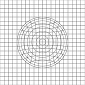 Circle in grid line drawing vector — Stock Vector