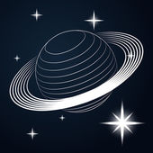 Saturn planet line drawing in space vector — Stock Vector