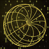 żółty szkic z kodu binarnego na kuli — Wektor stockowy