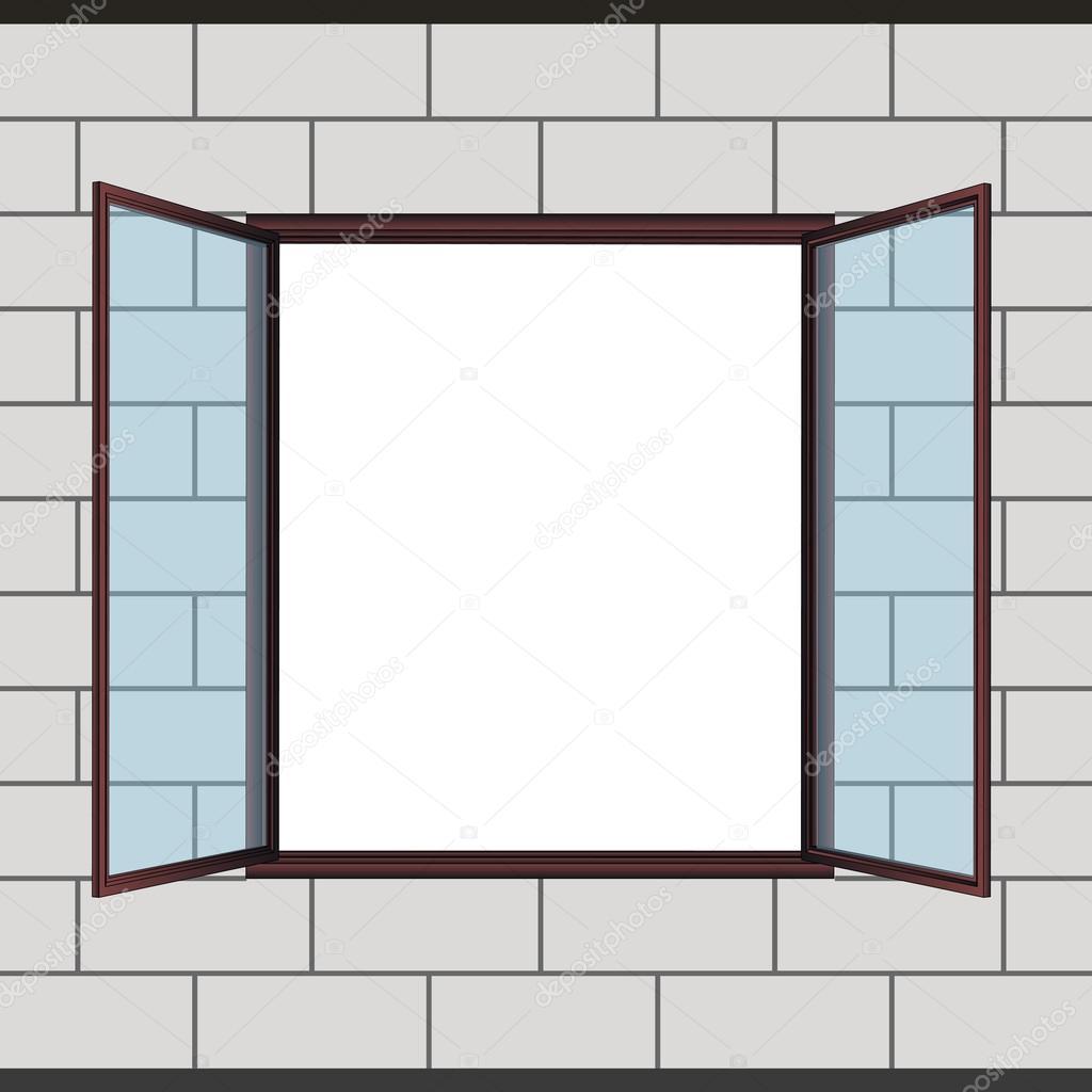 Fen tre ouverte en dessin vectoriel de fa ade grise for Fenetre de connexion