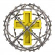 Isolated golden cross in barbed wire sphere — Stock Photo
