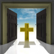 Holy cross in golden framed doorway with sky — Stock Photo