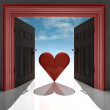 Stock Photo: Love heart in red doorway with sky